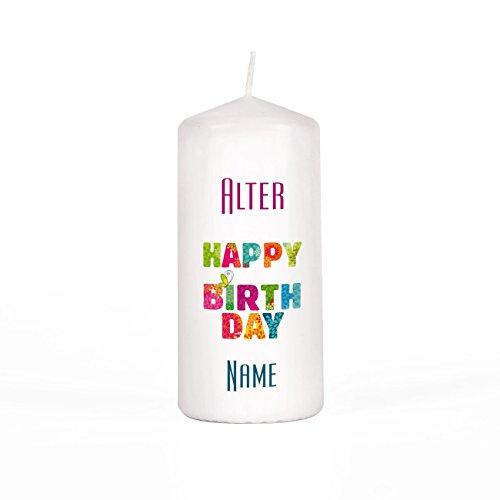 Herz & Heim® Geburtstagskerze Stumpenkerze mit Wunschnamen und Alter Gratis 150/67mm Brenndauer 45 h