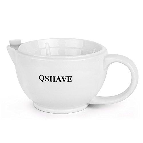 QSHAVE Afeitar la taza de la escotilla - Mantener la espuma siempre caliente - Taza de cerámica grande hecha a mano de la taza de gran tamaño (Blanco)