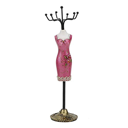 Bracelet Holder, Earring Holder, Earring Display Stands Necklace Display Necklace Stand for Jewelry Display(Rose red Cheongsam)