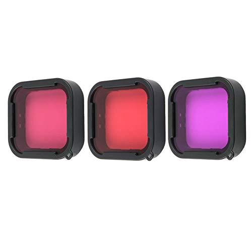 Harwerrel 3 Pack Filtros de Buceo para GoPro Hero 5 6 7 Negro Super Suit Carcasa de buceo - Rojo, Luz Roja y Filtro Magenta para Corrección de Color