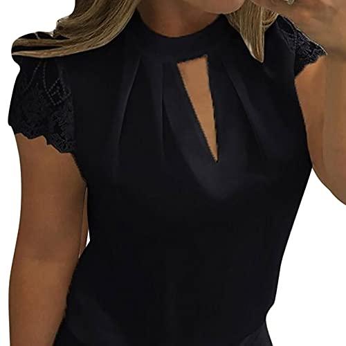 Ropa deportiva para mujer, tallas impresas, con base de encaje bordada, color con cuello redondo, holgado, sexy, retro, camiseta de verano, camiseta de manga corta, temperamento. Negro L