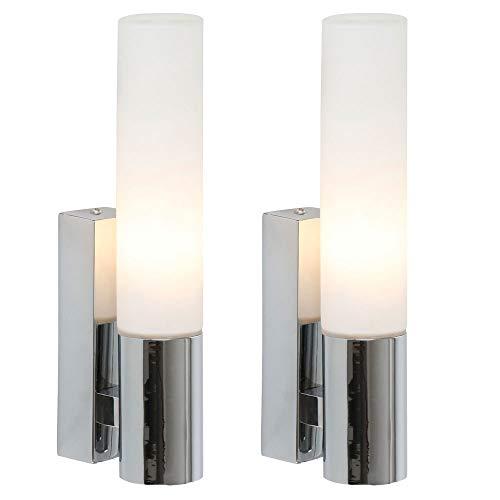 2er Set LED Wand Leuchten Bade Zimmer Beleuchtung Flur Spiegel Lampen Chrom
