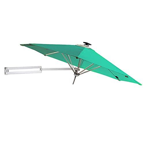 N/Z Home Equipment Parasols 250cm Wall Mount Garden with Solar LED Lights - Outdoor Patio Sunshade Umbrella with Tilt Adjustment Green