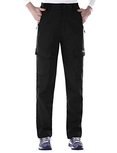Nonwe Women's Water-Resistant Workouts Fleece Lined Climbing Sweat Pants Warmth Black1 L/29 Inseam