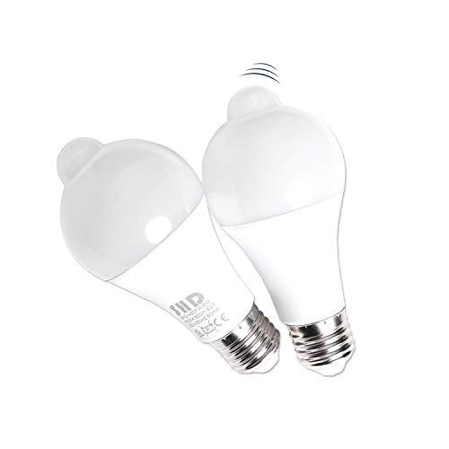 SHD LED E27 SET mit 2 Glühbirnen und integriertem Bewegungsmelder, Leuchtmittel 9W, 800 Lumen, 4000K Neutralweiß, 360 Grad Erfassungsradius, intelligentes LED Glühlampen Set mit Bewegungssensor