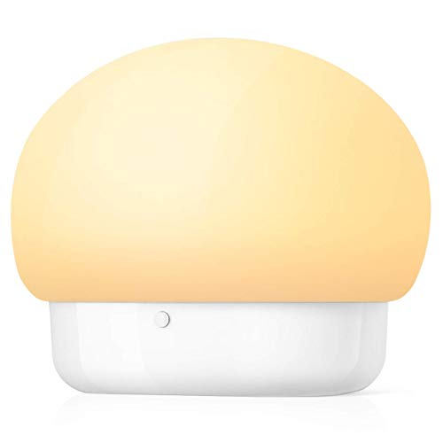 Gesh Luz nocturna LED de silicona, luces nocturnas para niños, lámpara de guardería para alimentación, enfermería, cambio de pañales, control de prensa, luz de setas, color blanco