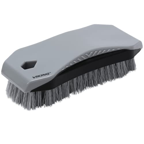 VIKING Carpet and Upholstery Cleaning Brush, Scrub Brush for Car Interior, Home, Couch, Stain Remover, Grey/Black