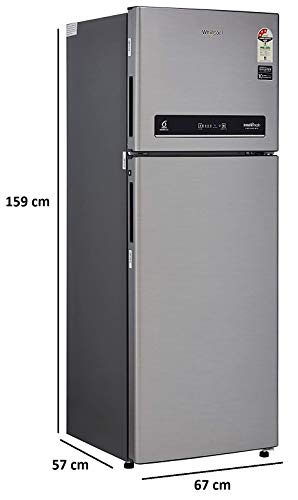 Whirlpool 265 L 3 Star Inverter Frost-Free Double Door Refrigerator (INTELLIFRESH INV CNV 278 3S, German Steel, Convertible) 3