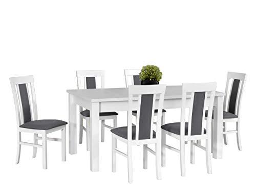 Mirjan24 Esstisch mit 6 Stühlen DM57, Esstischgruppe, Sitzgruppe, Esszimmer Set, Küchentisch, Esstisch Stuhlset, Esszimmergarnitur, DMXZ (Weiß/Weiß Malmo New 95)