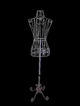 Female White Steel Wire Mannequin Dress Form 32 22 32  on Decorative Stand (0004 White)