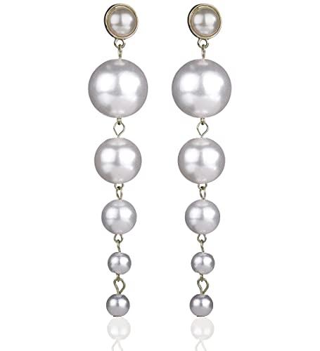 Denifery Boho Gold Long Tassel Earrings Fringe Dangle Earrings Pearls Earrings Thin Earrings Handmade Bohemian Statement Earrings for Women Girls Daily Party