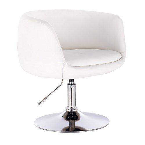 WOLTU® BH78ws 1 x Barsessel Loungesessel mit Armlehne, stufenlose Höhenverstellung, Kunstleder, Weiß