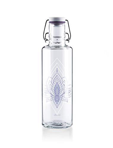 soulbottles 0,6l • Just Breathe • Trinkflasche aus Glas • plastikfrei, nachhaltig, vegan