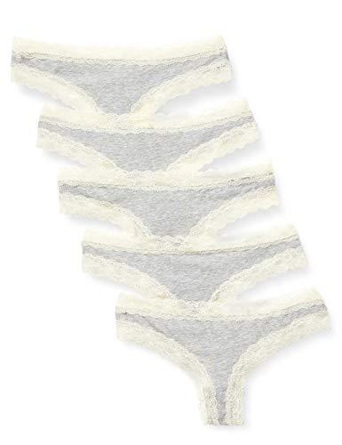 Amazon-Marke: Iris & Lilly Damen Tanga aus Baumwolle mit Spitze, 5er-Pack, Grau (Melange), S, Label: S