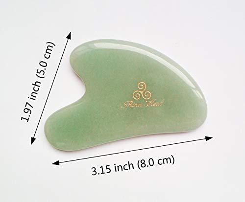 美顔かっさプレート天然石フェイスマッサージャーグリーンジェィド製MinaHeal袋入りY型