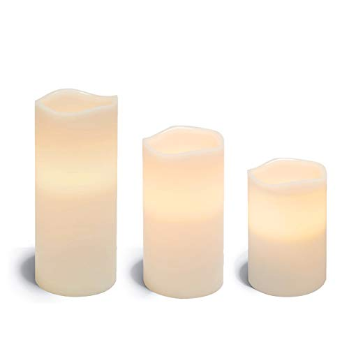 Large LED Flameless Pillar Candles - 4 Inch Diameter, White Wax, Unscented, Timer Setting, Realistic Electric Candle Light for Home Decor, Set of 3 - Remote Control and Batteries Included