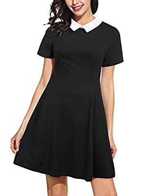 KILIG Women's Long Sleeve Casual Peter Pan Collar Flare Dress