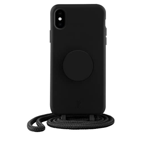 PopSockets x Just Elegance - Handyhülle für iPhone X/XS mit einer Abnehmbarereiner Geflochtenen Kette & einem PopGrip mit Austauschbarem PopTop - Black
