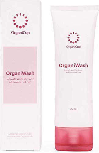 OrganiWash (2,5 oz) – mild rengöring för kroppen och menskoppen – ekologisk intimtvål – oparfymerad – vegancertifierad – allergicertifierad