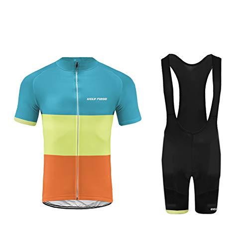 Uglyfrog Ropa Conjunto Traje Equipacion Ciclismo Hombre Verano con 20D Acolchado De Gel, Maillot Ciclismo + Pantalon/Culote Bicicleta para MTB Ciclista Bici DTML03