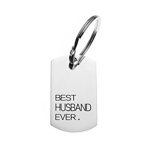 COMISAN Stainless Steel Stamped Charm Key Tag Keychain Pendant Key Ring for Family Relatives Gift (Best Husband Ever)