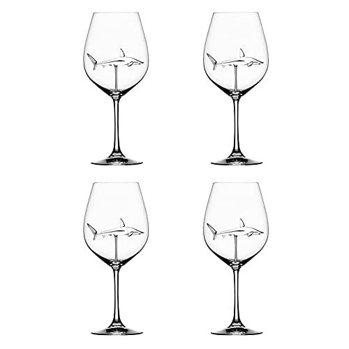Linglong Copas de vino tinto con tiburón interior cristal transparente sin plomo para el hogar bar fiesta