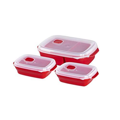 Xavax Mikrowellengeschirr Set 3-teilig mit Deckel (mikrowellengeeignete Frischhalte-Dose ideal zum Einfrieren/Erhitzen v. Speisen, verschließbare Mikrowellendose spülmaschinenfest, 2x0,6l, 1x1,3l) Rot