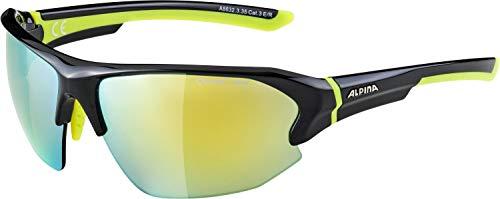 ALPINA LYRON HR Sportbrille, Unisex– Erwachsene, black-neon yellow, one size