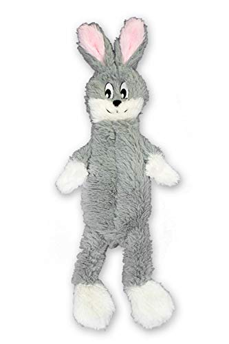 FGA MARKETPLACE Grey Rabbit Flat NO Stuffing NO Squeak Plush Dog Toy, Funny Style Will Entertain Your Dog for Hours, Recommended for Small and Medium Dog 21 INCH Long