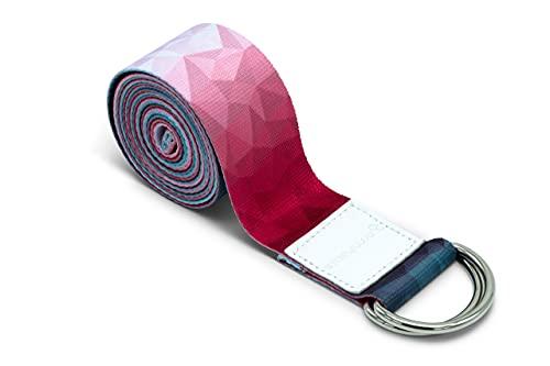 omnihabits Yogagurt, Yogaband, Yoga Strap mit hoch detailliertem Druck (Rot-Blau-Weiß, 220)