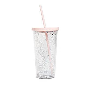 ban.do Women's Deluxe Sip Sip Tumbler with Straw, Glitter Bomb, 20 Ounce