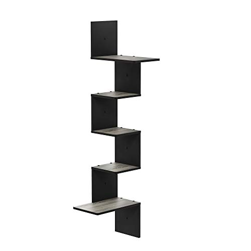 Furinno Rossi Wall Mounted Shelves, 5-Tier Rectangle, French Oak Grey/Black