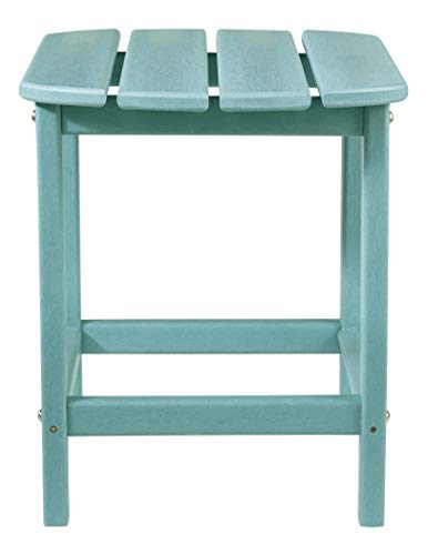 Ashley Furniture Signature Design - Sundown Treasure Outdoor End Table - Hard Plastic - Slat Top - Turquoise