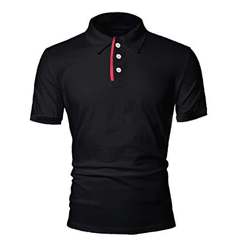 BeIM Herren Kurzarm Poloshirt Polohemd Men's Polo Shirt Basic Polo T-Shirt Baumwolle, Schwarz 2XL