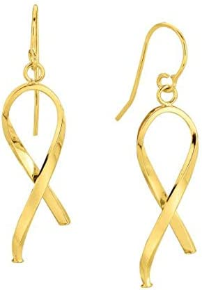 Royal Jewelz 14K Yellow Gold Shiny Ribbon Like Freeform Fish Hook Drop Earrings.