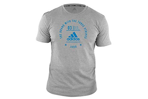 adidas Judo T-Shirt Men Women Martial Arts Gym Fitness Workout Training Top Camiseta para Hombre y Mujer, Gris, S