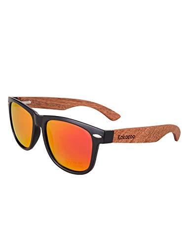 nobrand Holz Sonnenbrille für Herren Damen/Polarisierte Sonnenbrille mit UV-Schutz/Sonnenbrille mit Holzbügeln (Orange)