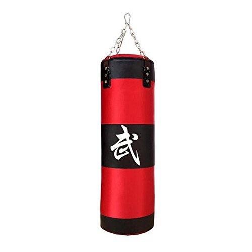 Sac de frappe d'entraînement vide avec chaîne d'accrochage - Upantech - Unisexe - Pour fitness, boxe - 70cm, 80cm, 90,cm, 100cm (Rouge), 90 cm