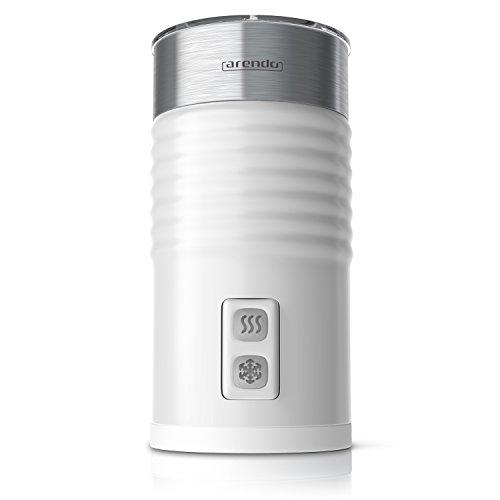 Arendo - Espumador de leche milkloud automático - Diseño inoxidable de pared doble- 2 botones para espumar en frío y en caliente - Superficie suave - blanco