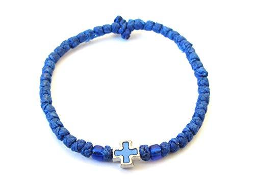 Iconsgr Handmade Christian Orthodox Komboskoini Chotki Prayer Rope Bracelet Blue
