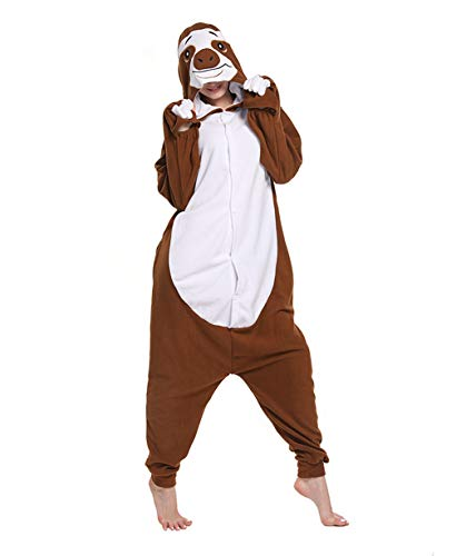 FORLADY Faultier Kostüm Erwachsene Tier Cosplay Kostüm Erwachsene Pyjamas Brown Unisex