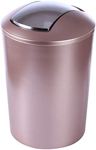 LLDKA voor keuken, badkamer, kantoor, woonkamer, 6,5 liter, rond, vuilnisbak met schommeldeksel, kunststof prullenbak kleine afvalmand
