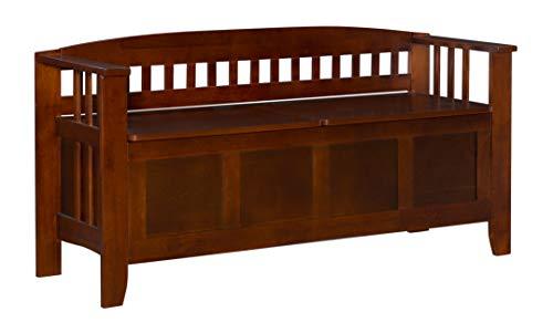 Linon Home Decor Storage Bench with Short Split Seat Storage Walnut