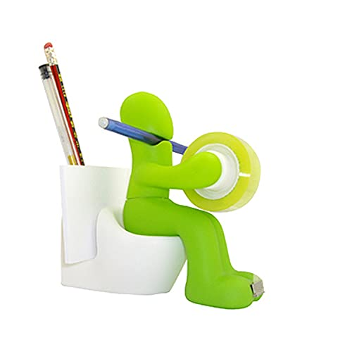 CJBIN Büroartikel Lustig, Klebebandabroller Büro Gadgets Toiletten Shaped Desktop mit Halterung für Stifte Notizblock, Büroklammern Magnetische für Büro, Zuhause oder Schule (Grun)