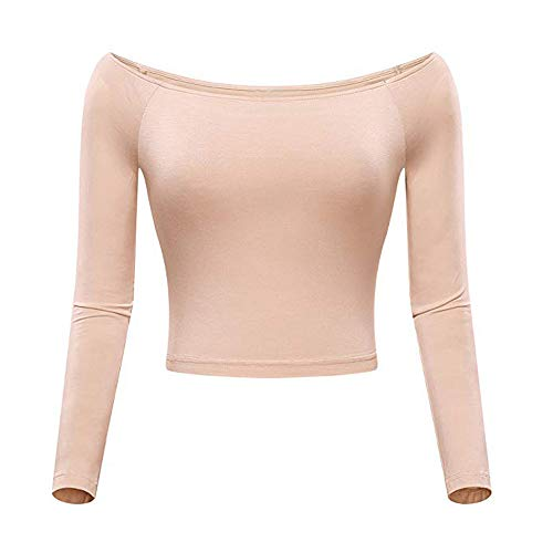 Sexy Womens Fashion Basic Off-Shoulder Lange Mouw Effen Lange Mouw Crop Top Uniek Hoeslaken Navel Blouse