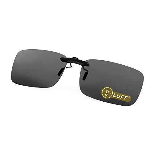 LUFF Polarized Unisex Clip on Sunglasses for Prescription Eyeglasses-Good Clip Style Sunglasses for Myopia Glasses Outdoor/Driving/Fishing (Black) …