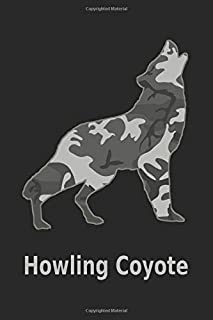 Howling Coyote: 6x9. 110 page.  College Rule.  Funny Camo Canine Camouflage Cover journal composition book (Notebook School Office Supplies) on Black