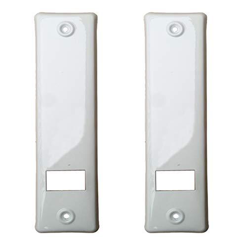 2er SET Gurtwicklerblende mit Gurtausbau Lochabstand 160mm Blende für Gurt, Abdeckplatte Farbe Weiß, ALU