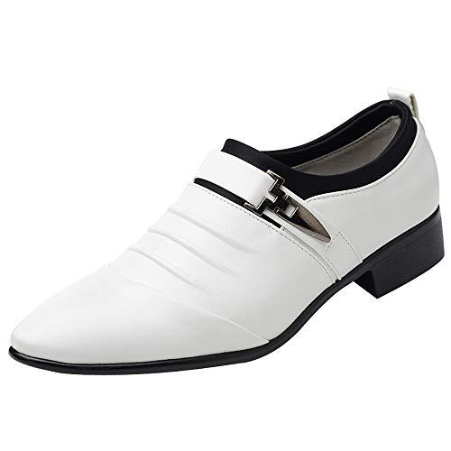 New Britischer Stil Herren Lederschuhe Fashion Man Pointed Toe Formale Hochzeitsschuhe Business Kleid Schuhe Weiche OberfläChe Bequem PersöNlichkeit Trend Formelle Lederschuhe (43, Weiß)