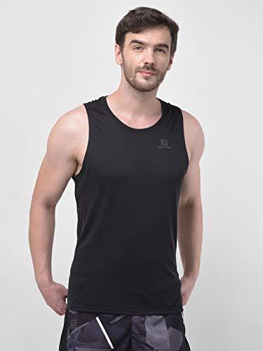 Salomon, Débardeur pour Homme, AGILE TANK, Jersey Double, Noir, Taille XL, LC1035900